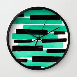Pastel Teal Primitive Stripes Mid Century Modern Minimalist Watercolor Gouache Painting Colorful Str Wall Clock