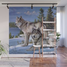 Two wolves in winter Siberian Wall Mural