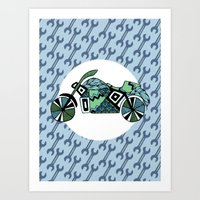 motorbike Art Prints featuring motorbike by Cosy Walnut