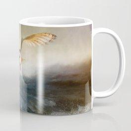 An owl flies over the lake Coffee Mug