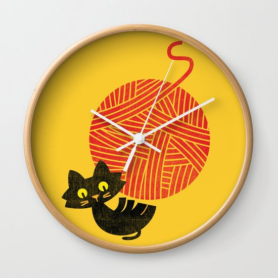 Fitz - Happiness (cat and yarn) Wall Clock
