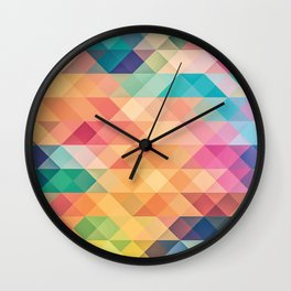 Colorful polygons Wall Clock