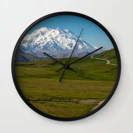 Clear sunny day in Denali National Park with the road leading to an unobstructed Mt. Denali Wall Clock