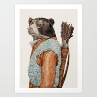 hunter Art Prints featuring HUNTER by Animal Crew