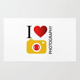 I love photography- Photography lovers passion- yellow camera Rug
