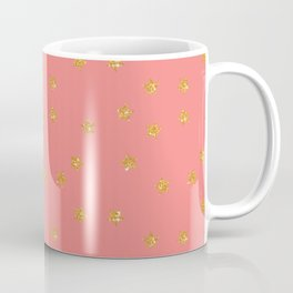 Modern coral faux gold glitter starry pattern Coffee Mug