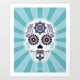 Día de Muertos • Mexican Sugar Skull – Baby Blue Palette Art Print