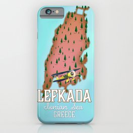 Lefkada Greek Vintage map travel poster. iPhone Case