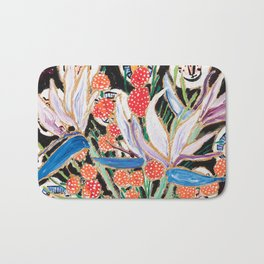 Lions and Tigers Dark Floral Still Life Painting Bath Mat