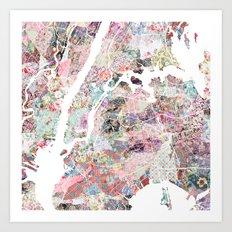 New York map flowers Art Print