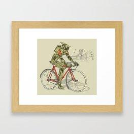 Robot Cyclist Framed Art Print