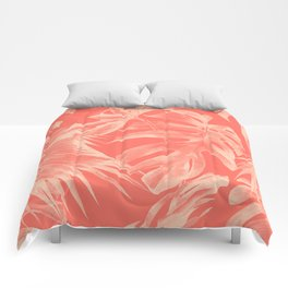 Living Coral Tropical Palm Leaves Monstera Comforters