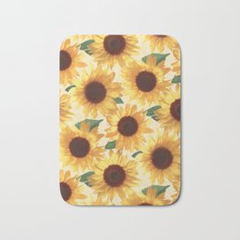 Happy Yellow Sunflowers Bath Mat