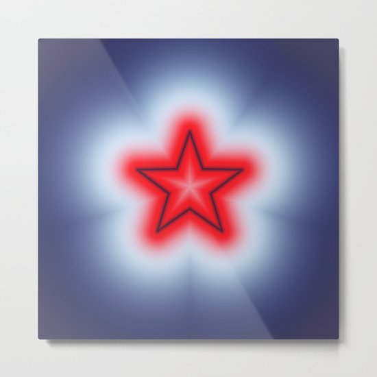 Red White and Blue Star Metal Print