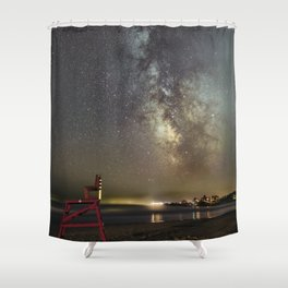 Lifeguard chair and the Milkyway Shower Curtain