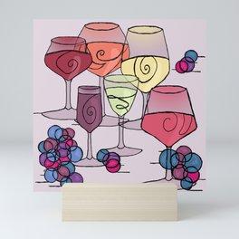 Wine and Grapes v2 Mini Art Print