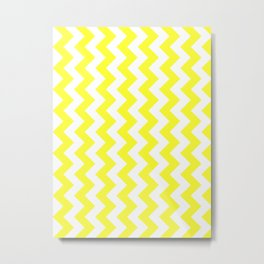 White and Electric Yellow Vertical Zigzags Metal Print