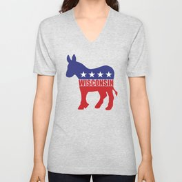 Wisconsin Democrat Donkey Unisex V-Neck
