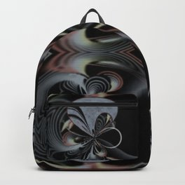 Midnight Sweet Peas (black, silver, pewter, green, gold, coral & yellow) Backpack