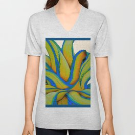COLORFUL MODERN ABSTRACT AGAVE CACTUS ART Unisex V-Neck