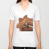 rug V-neck T-shirts featuring Bear rug  by Felicity Du