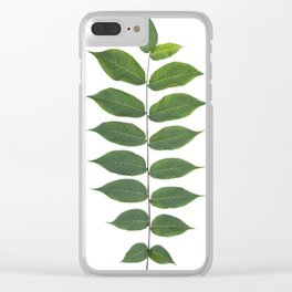 Green Leaf Botanical Print Clear iPhone Case