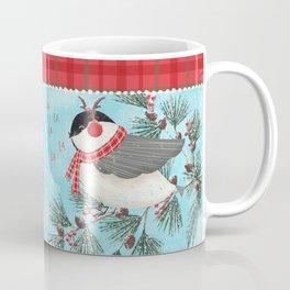 Woodland Holiday Lodge Chickadees Coffee Mug