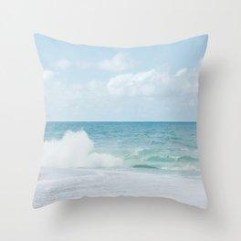 Blue Hawaii - Kauapea Beach, Ocean Photography Throw Pillow