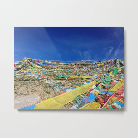 colorful prayer flags on the Tibetan mountain Metal Print