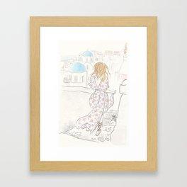Santorini Travels Boho Fashion Illustration Framed Art Print