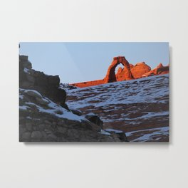 Delicate Arch in Winter Metal Print