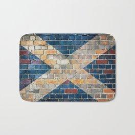 Scotland flag on a brick wall Bath Mat