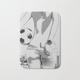 Let's play soccer, football. Kinky sporty girl rear view, naughty pants slip, sexy booty Bath Mat