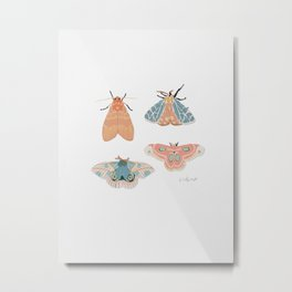 Moth Pattern - Pastels - White Metal Print