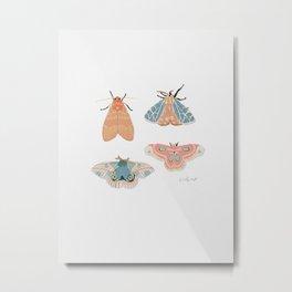 Moth Pattern - Pastels - White Metal Print