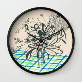 Flowers at the framhouse cafe -line drawing leaves #6 Wall Clock