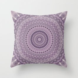 Purple feather mandala Throw Pillow