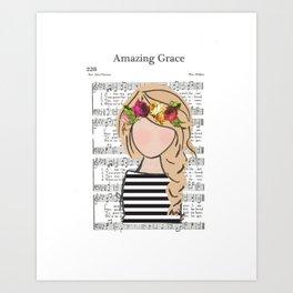 Amazing Grace - Blonde Braid Art Print