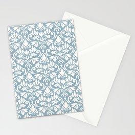Flourish Damask Big Ptn Cream on Blue Stationery Cards