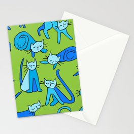 kitty kat (blue on green) Stationery Cards