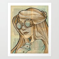 hallion Art Prints featuring Iron Woman 1 by Karen Hallion Illustrations