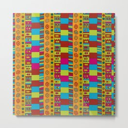 Abstract hand drawn Ethno design  in vivid colours. Metal Print