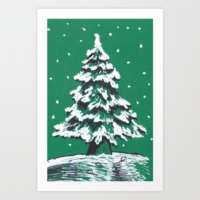 Snowy Christmas Tree.Snowy Christmas Tree Art Print By Iatridis