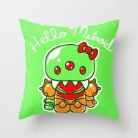 metroid Throw Pillows featuring Hello Metroid by Marshu