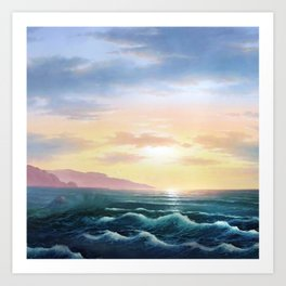Abstract sunset nautical blue waves landscape Art Print