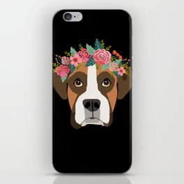 Boxer dog breed with floral crown cute dog gifts pure breed Boxers iPhone Skin
