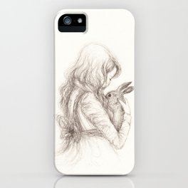 girl with rabbit iPhone Case