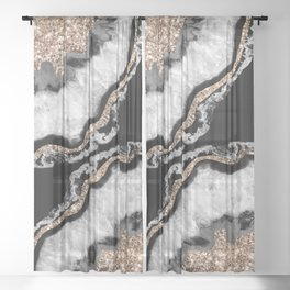 Yin Yang Agate Glitter Glam #8 #gem #decor #art #society6 Sheer Curtain