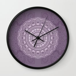 White Lace on Lavender Wall Clock