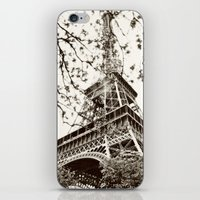 eiffel tower iPhone & iPod Skins featuring Eiffel Tower by Linde Townsend